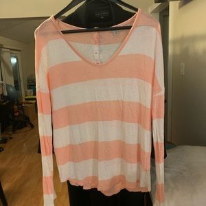 Lucky Brand Striped Long Sleeve V neck Top M
